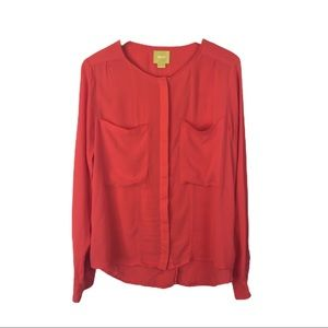 Anthropologie Maeve coral blouse